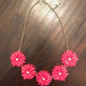 Hot Pink J.Crew Flower Necklace